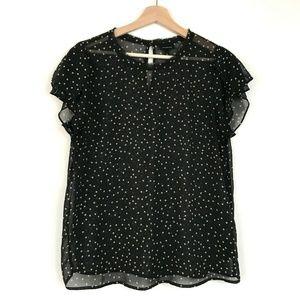 Who What Wear Womens Black Sheer Polka Dot Blouse